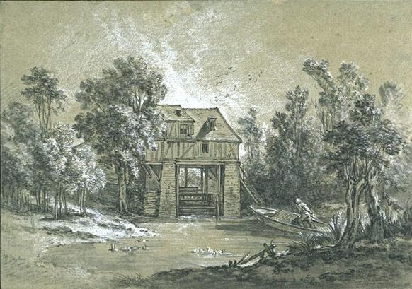 Landscape with a mill by Jean-Baptiste Oudry (1686-1755, France)