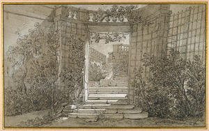 Jean-Baptiste Oudry - Landscape with a Stairway and Balustrade