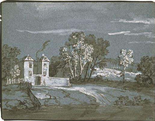 Landscape with houses by Jean-Baptiste Oudry (1686-1755, France)