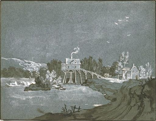 Moulin au bord d`une rivière by Jean-Baptiste Oudry (1686-1755, France) | Art Reproduction | WahooArt.com