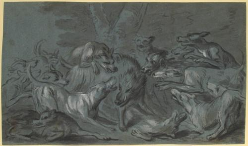 Pack of Dogs Attacking a Wild Boar by Jean-Baptiste Oudry (1686-1755, France)