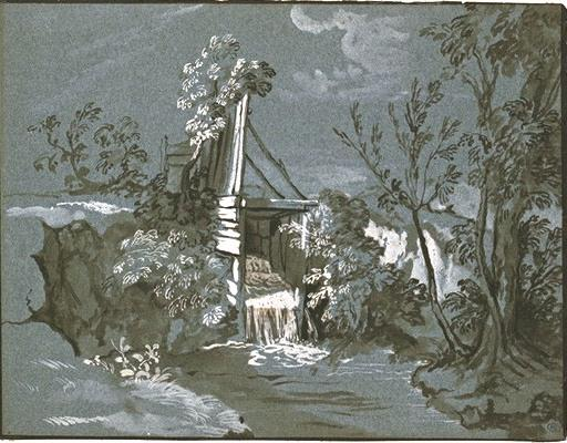 Reach the rocks, a stream by Jean-Baptiste Oudry (1686-1755, France)