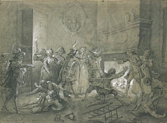 Renewal of the fight against two maids in the hotel by Jean-Baptiste Oudry (1686-1755, France)
