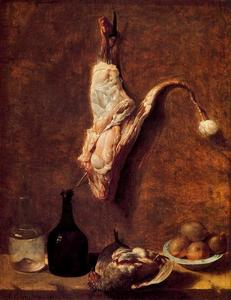 Order Reproductions | Still Life with calf leg by Jean-Baptiste Oudry (1686-1755, France) | WahooArt.com