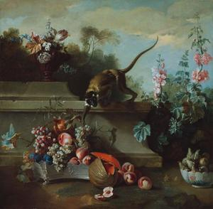 Jean-Baptiste Oudry - Still Life with Monkey, Fruits, and Flowers