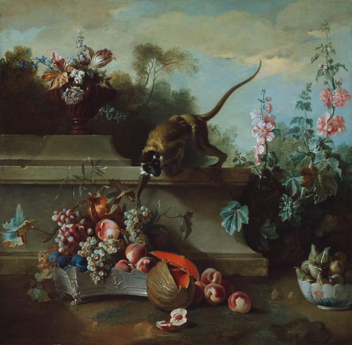 Still Life with Monkey, Fruits, and Flowers by Jean-Baptiste Oudry (1686-1755, France) | Art Reproduction | WahooArt.com