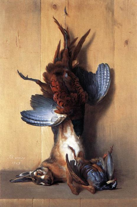 Still-life with Pheasant by Jean-Baptiste Oudry (1686-1755, France) | Famous Paintings Reproductions | WahooArt.com