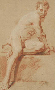Jean-Baptiste Oudry - Study of a Man sitting, tilted to the right
