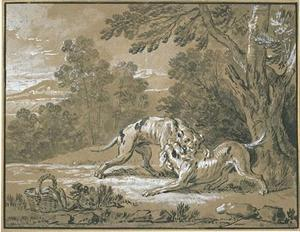 Jean-Baptiste Oudry - The dog wears around her neck the dinner of his master