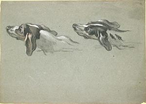 Jean-Baptiste Oudry - Two heads of greyhounds, turned to the left