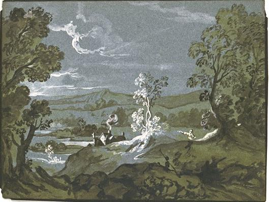 Wooded valley by Jean-Baptiste Oudry (1686-1755, France)