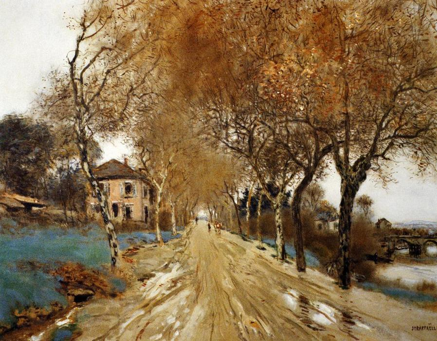 A Lane of Plane Trees, 1910 by Jean-François Raffaelli (1850-1924, France) | Oil Painting | WahooArt.com