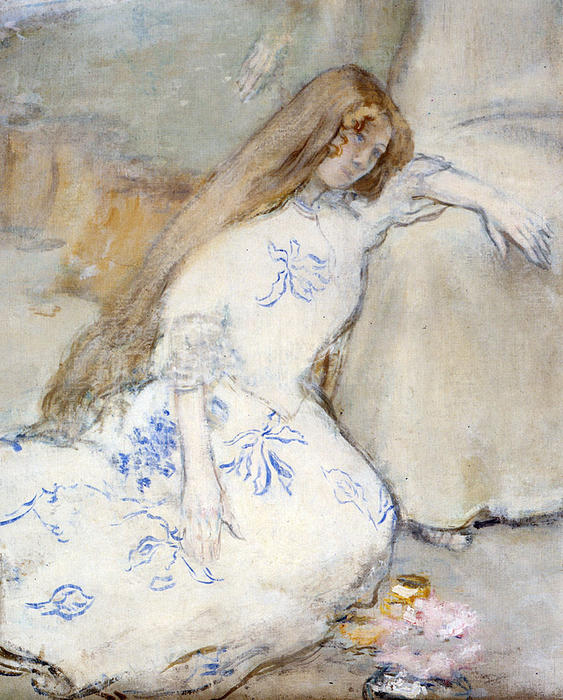 A Young Girl Resting by Jean-François Raffaelli (1850-1924, France) | Oil Painting | WahooArt.com