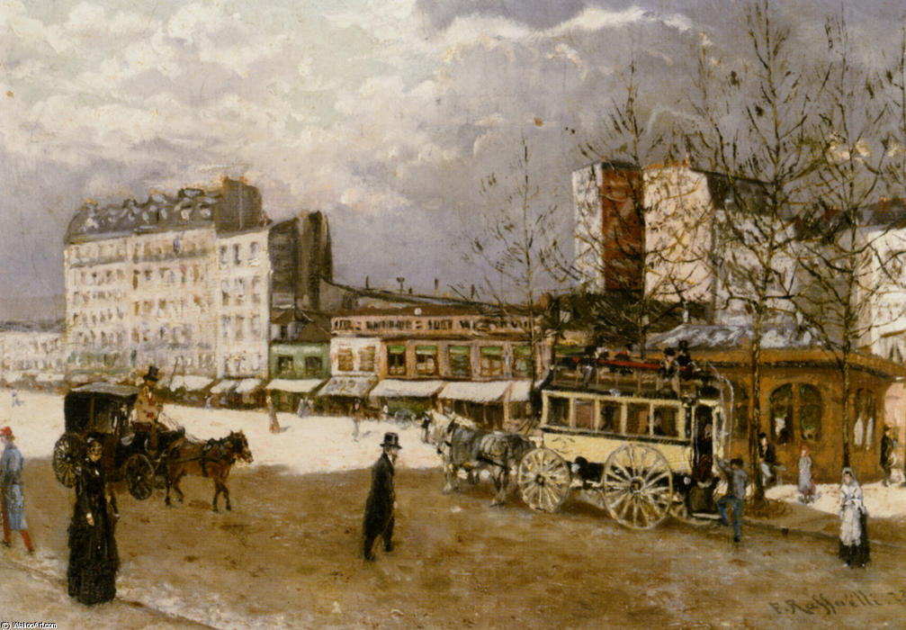 Place Blanche Boulevard Clichy by Jean-François Raffaelli (1850-1924, France) | Painting Copy | WahooArt.com