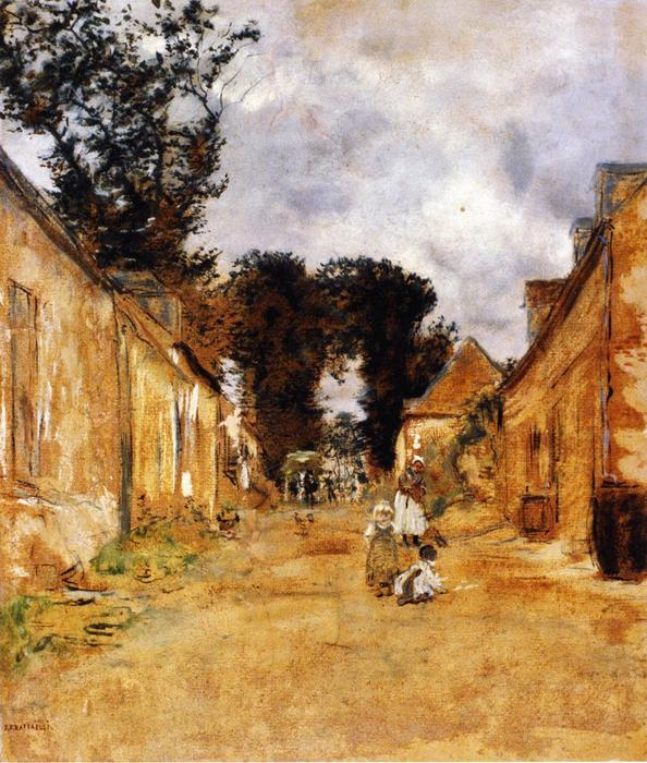 Street in a Rural Village, 1882 by Jean-François Raffaelli (1850-1924, France) | Painting Copy | WahooArt.com