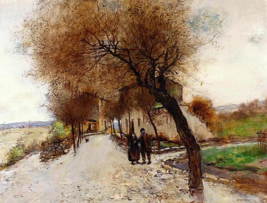 Strollers Leaving a Village, 1890 by Jean-François Raffaelli (1850-1924, France) | Famous Paintings Reproductions | WahooArt.com
