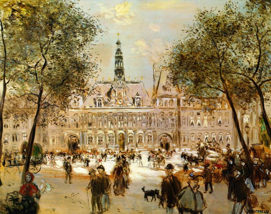 The Place de l`Hotel de Ville, 1890 by Jean-François Raffaelli (1850-1924, France) | Famous Paintings Reproductions | WahooArt.com