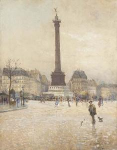 Order Museum Quality Reproductions : The Place de la Bastille, Paris by Jean-François Raffaelli (1850-1924, France) | WahooArt.com
