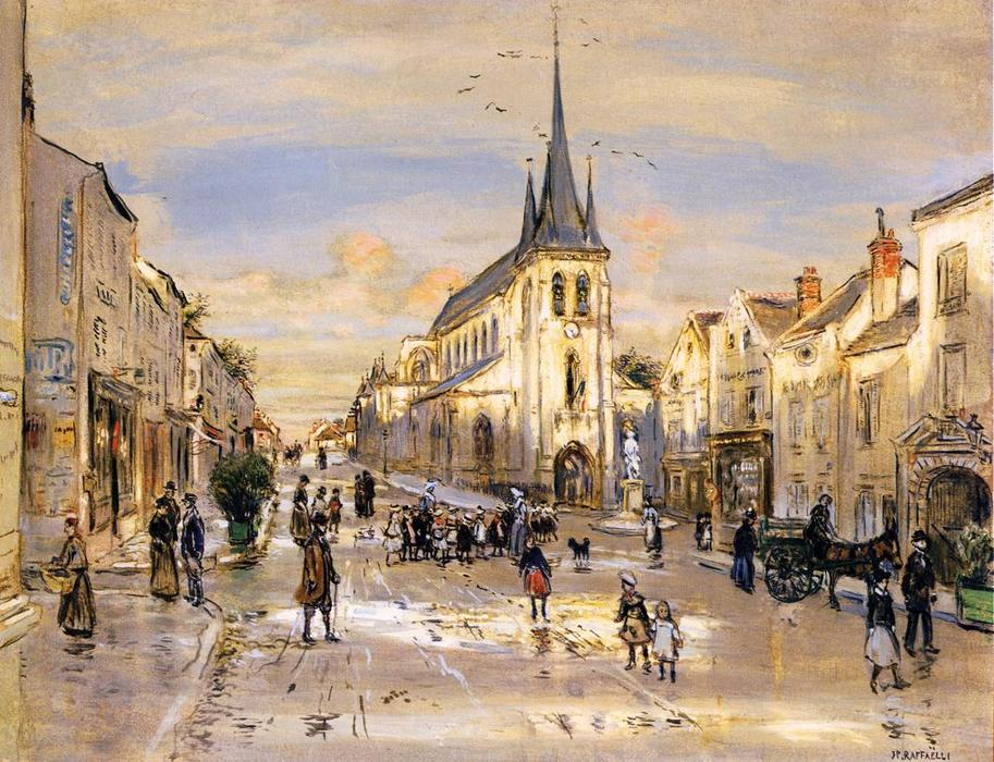 The Place Saint-Jean in Nemours, 1912 by Jean-François Raffaelli (1850-1924, France) | Art Reproduction | WahooArt.com
