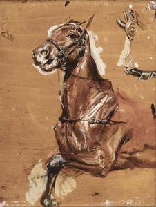 Jean Louis Ernest Meissonier - A study of a bridled horse