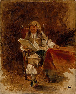 Jean Louis Ernest Meissonier - Study of a Seated Cavalier Reading