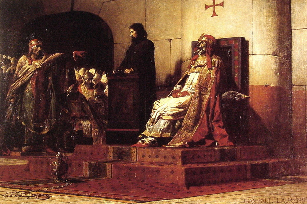 Pope Formosa and Stephen VII by Jean-Paul Laurens (1838-1921, France) | Oil Painting | WahooArt.com