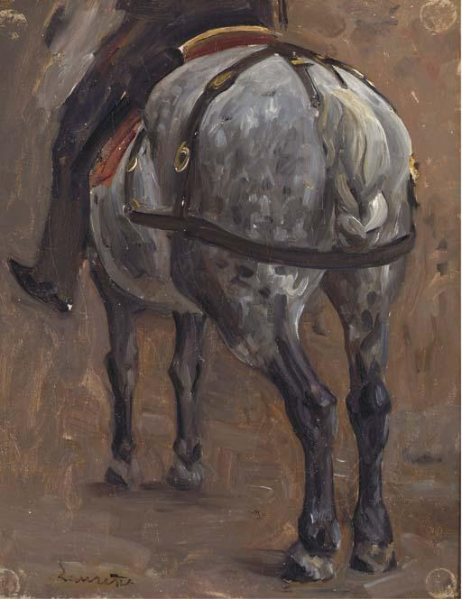 Order Oil Painting : Study of horse and rider by Jean-Paul Laurens (1838-1921, France) | WahooArt.com