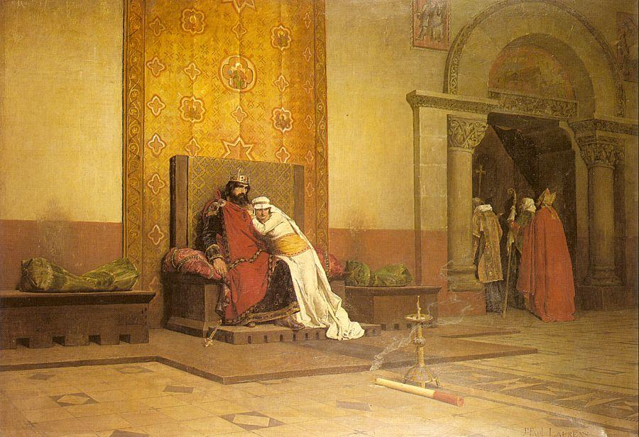 The Excommunication of Robert the Pious in 998 by Jean-Paul Laurens (1838-1921, France) | Paintings Reproductions Jean-Paul Laurens | WahooArt.com
