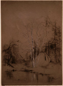 Jervis Mcentee - Trees Near a Pond