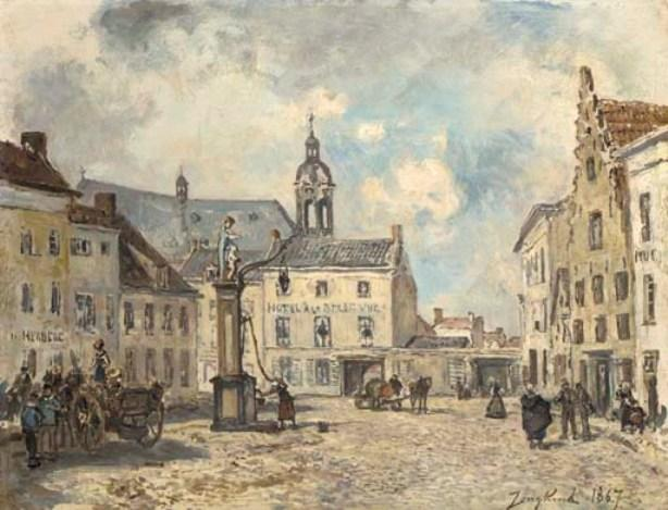 Place in Antwerp by Johan Barthold Jongkind (1819-1891, Netherlands)