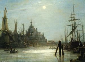 Johan Barthold Jongkind - The Hoofdpoort in Rotterdam, The effect of the Moon