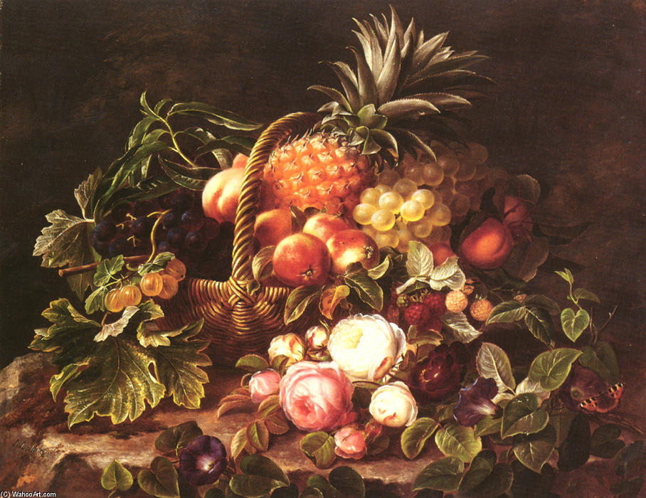 A Still Life Of A Basket Of Fruit And Roses by Johan Laurentz Jensen (1800-1856, Denmark)
