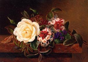 Johan Laurentz Jensen - Still Life with a Rose and Violets on a Marble Ledge