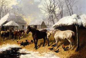 John Frederick Herring Junior - A Farmyard Scene In Winter