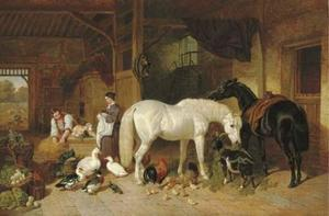 John Frederick Herring Senior - A barn interior with figures and livestock