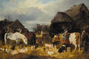 John Frederick Herring Senior - A farmyard scene with milkmaid and a farm labourer