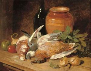 John Frederick Herring Senior - Still life of dead birds, fruit, vegetables, a bottle and a jar