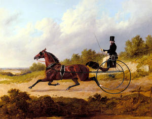 John Frederick Herring Senior - The Famous Trotter Confidence Drawing A Gig