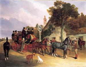 John Frederick Herring Senior - The London-to-Leeds stage coach changing horses at the Swan Inn, Bottisham, Cambridge