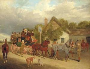 John Frederick Herring Senior - The Royal Mail - Changing Horses outside the Red Lion