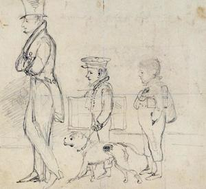John Frederick Lewis - Portrait sketch of J. F. Lewis with his brothers Charles and Frederick
