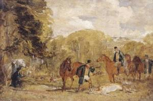 John Frederick Lewis - Sketch for `Buck-Shooting in Windsor Great Park'
