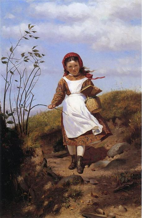 A Breezy Morning by John George Brown (1831-1913, United Kingdom) | WahooArt.com