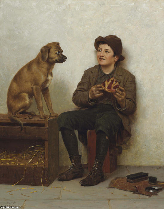 A Taste for Pie by John George Brown (1831-1913, United Kingdom)