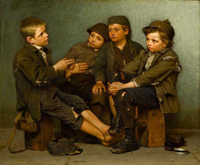 A Tough Story, Oil On Canvas by John George Brown (1831-1913, United Kingdom)