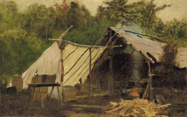 Camp in the Maine Wood by John George Brown (1831-1913, United Kingdom) | Museum Quality Reproductions | WahooArt.com