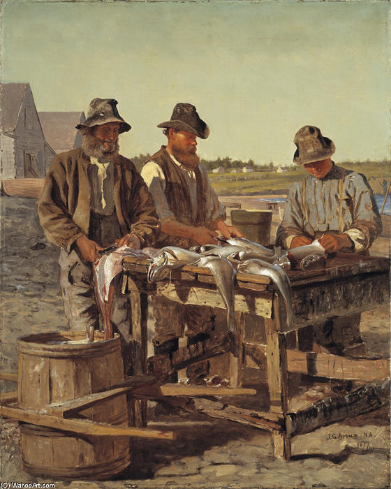 Cleaning fish by John George Brown (1831-1913, United Kingdom)