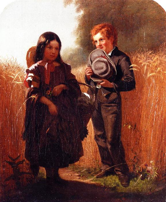 Coming Thro' the Rye, Oil On Panel by John George Brown (1831-1913, United Kingdom)