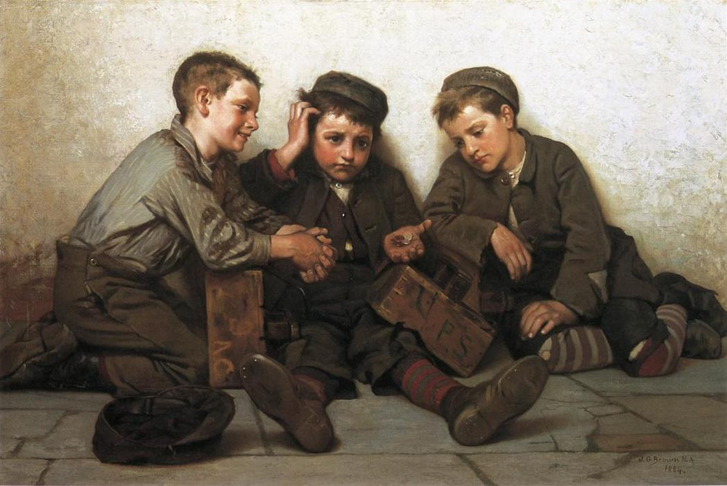 Coming up Short, Oil On Canvas by John George Brown (1831-1913, United Kingdom)