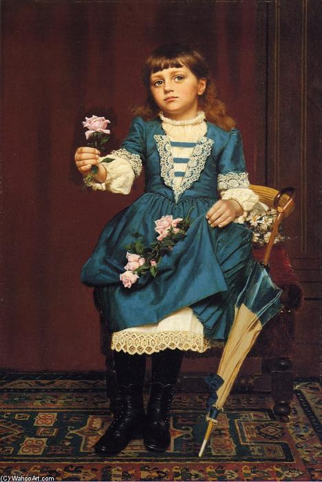 Daisy McComb Holding a Pink Rose, Oil On Canvas by John George Brown (1831-1913, United Kingdom)